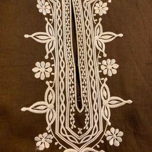J. Crew Tops - J. Crew Tunic brown w white embroidery- gorgeous!